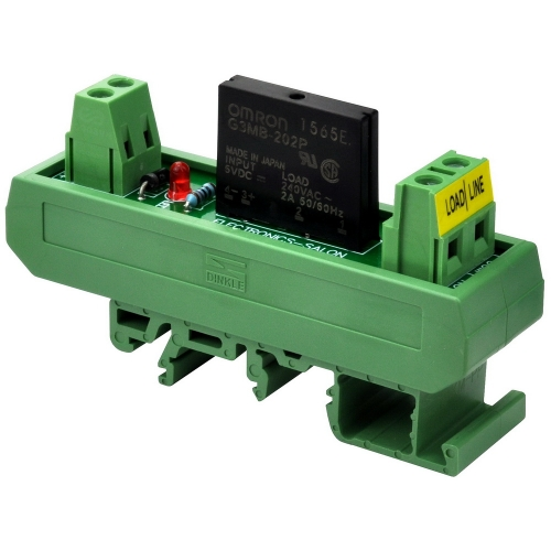 ELECTRONICS-SALON DC 5V Slim DIN Rail Mount 2Amp AC Solid State Relay Interface Module, G3MB-202P 5VDC.