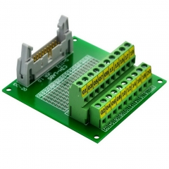 "CZH-LABS IDC-20 Male Header Connector Breakout Board Module, IDC Pitch 0.1"", Terminal Block Pitch 0.2"""