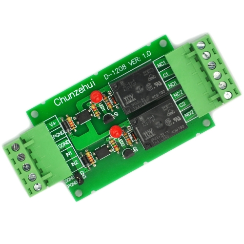Chunzehui DC 5V Two Channel 10Amp Opto-Isolated Power Relay Module Board, Pluggable Terminal Block. for home control and industrial applications.