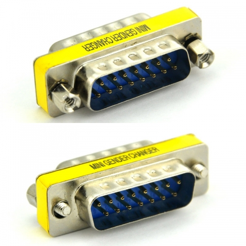 DB15 Male-Male Mini Gender Changer, D-sub Adapter.