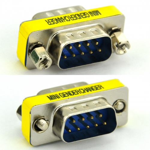 DB9 Male-Male Mini Gender Changer, D-sub Adapter.