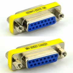 DB15 Female-Female Mini Gender Changer, D-sub Adapter.