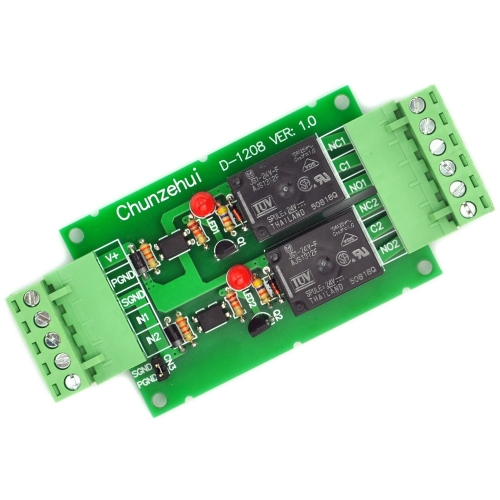 Chunzehui DC 24V Two Channel 10Amp Opto-Isolated Power Relay Module Board, Pluggable Terminal Block. for home control and industrial applications.