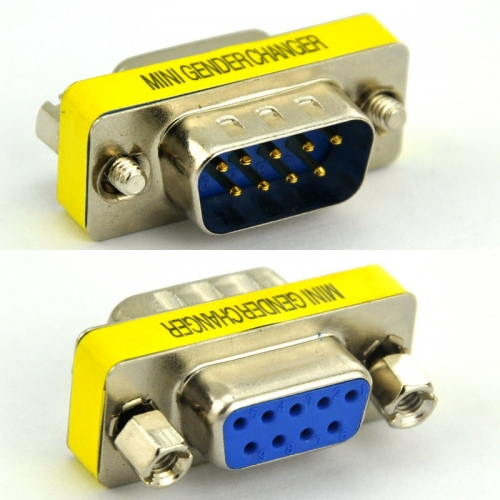 DB9 Male-Female Mini Gender Changer, D-sub Adapter.