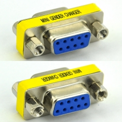 DB9 Female-Female Mini Gender Changer, D-sub Adapter.