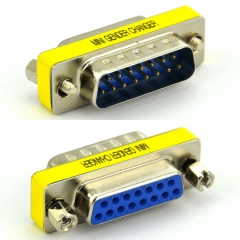 DB15 Male-Female Mini Gender Changer, D-sub Adapter.