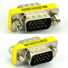 DB15HD Male-Male Mini Gender Changer, D-sub Adapter.