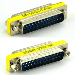 DB25 Male-Male Mini Gender Changer, D-sub Adapter.