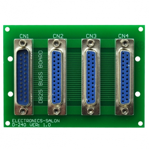 ELECTRONICS-SALON Panel Mount DB25 1 Male 3 Female Buss Board, DB-25 Busboard, D-Sub Bus Board Module.