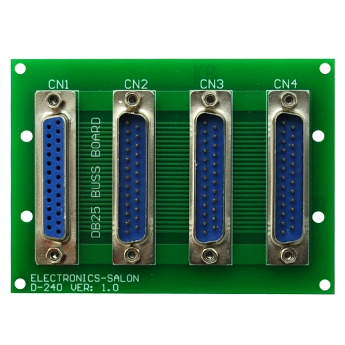 ELECTRONICS-SALON Panel Mount DB25 1 Female 3 Male Buss Board, DB-25 Busboard, D-Sub Bus Board Module.