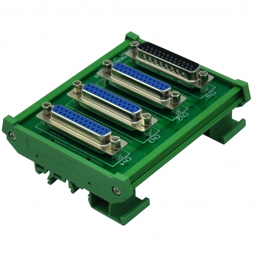 ELECTRONICS-SALON DIN Rail Mount DB25 1 Male 3 Female Buss Board, DB-25 Busboard, D-Sub Bus Board Module.