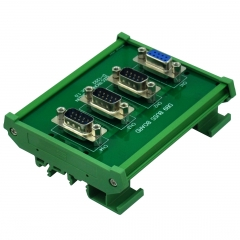 ELECTRONICS-SALON DIN Rail Mount DB9 1 Female 3 Male Buss Board, DB-9 Busboard, D-Sub Bus Board Module.
