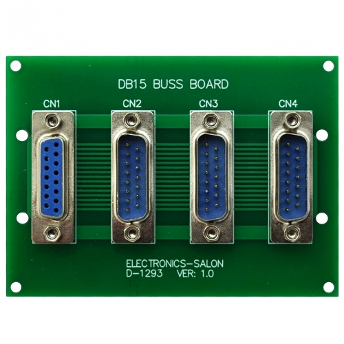 ELECTRONICS-SALON Panel Mount DB15 1 Female 3 Male Buss Board, DB-15 Busboard, D-Sub Bus Board Module.