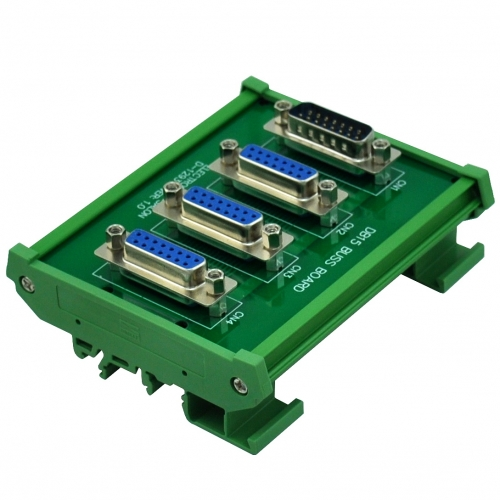 ELECTRONICS-SALON DIN Rail Mount DB15 1 Male 3 Female Buss Board, DB-15 Busboard, D-Sub Bus Board Module.