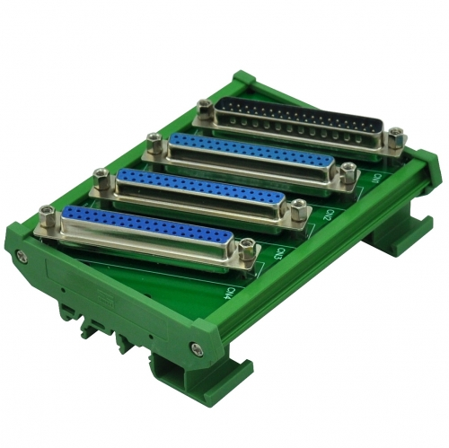 ELECTRONICS-SALON DIN Rail Mount DB37 1 Male 3 Female Buss Board, DB-37 Busboard, D-Sub Bus Board Module.