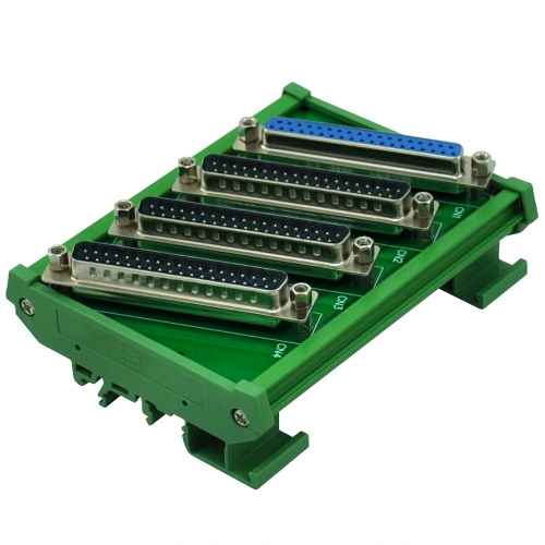 ELECTRONICS-SALON DIN Rail Mount DB37 1 Female 3 Male Buss Board, DB-37 Busboard, D-Sub Bus Board Module.