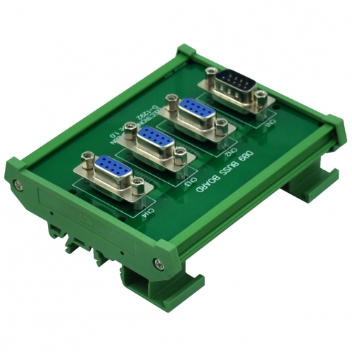 ELECTRONICS-SALON DIN Rail Mount DB9 1 Male 3 Female Buss Board, DB-9 Busboard, D-Sub Bus Board Module.