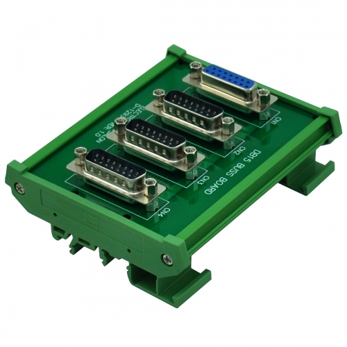 ELECTRONICS-SALON DIN Rail Mount DB15 1 Female 3 Male Buss Board, DB-15 Busboard, D-Sub Bus Board Module.
