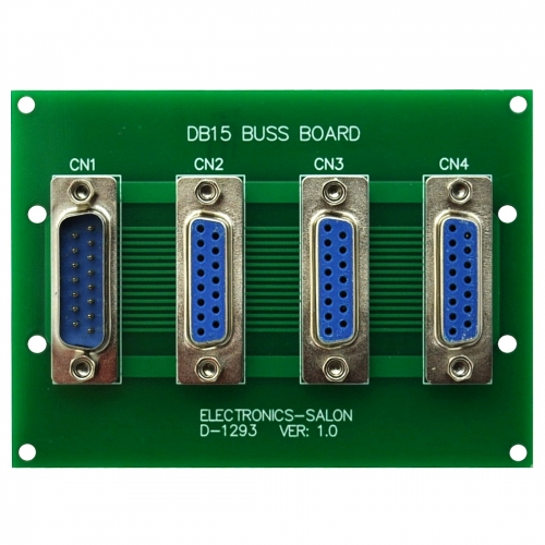 ELECTRONICS-SALON Panel Mount DB15 1 Male 3 Female Buss Board, DB-15 Busboard, D-Sub Bus Board Module.