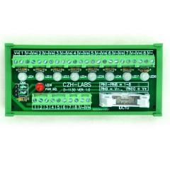 CZH-LABS DIN Rail Mount 8 Channel Sensor Signal Screw Terminal Distribution Module.