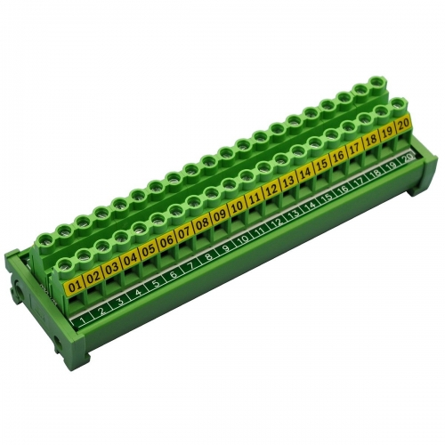 CZH-LABS DIN Rail Mount 30A/300V 20 Position Screw Terminal Block Distribution Module.