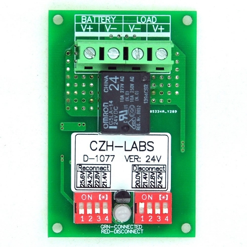 CZH-LABS Low Voltage Disconnect Module LVD, 24V 10A, Protect/Prolong Battery Life.