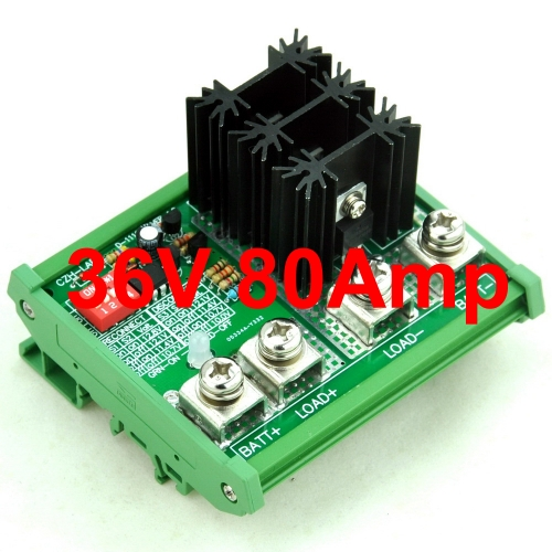 CZH-LABS DIN Rail Mount LVD Low Voltage Disconnect Module, 36V 80A, Protect/Prolong Battery Life.