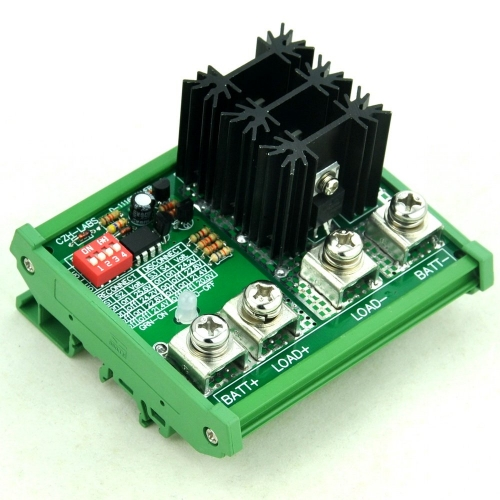 CZH-LABS DIN Rail Mount LVD Low Voltage Disconnect Module, 24V 80A, Protect Battery.