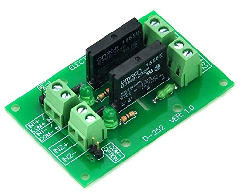 ELECTRONICS-SALON DC5V 2 Channels DC-AC 2Amp G3MB-202P Solid State Relay SSR Module Board.