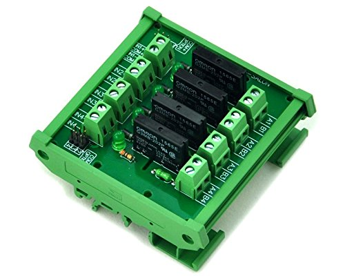ELECTRONICS-SALON DIN Rail Mount DC5V 4 Channels DC-AC 2Amp G3MB-202P Solid State Relay SSR Module Board.