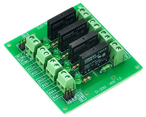 ELECTRONICS-SALON DC5V 4 Channels DC-AC 2Amp G3MB-202P Solid State Relay SSR Module Board.