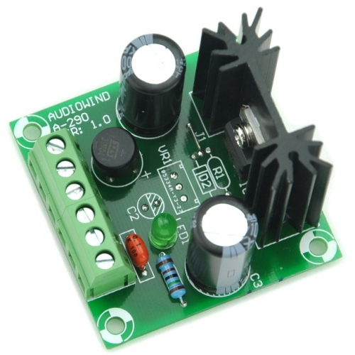 AUDIOWIND -9V DC Negative Voltage Regulator Module Board, Based on 7909 IC, -9V / 1A.