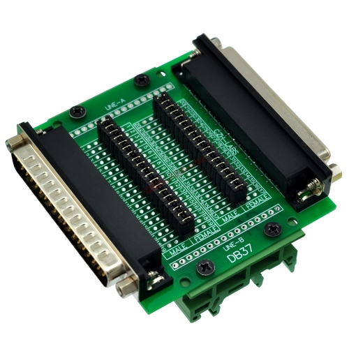 CZH-LABS DIN Rail Mount D'sub DB37 Diagnostic Test Breakout Board, DSUB DB37 Connector Male to Female.
