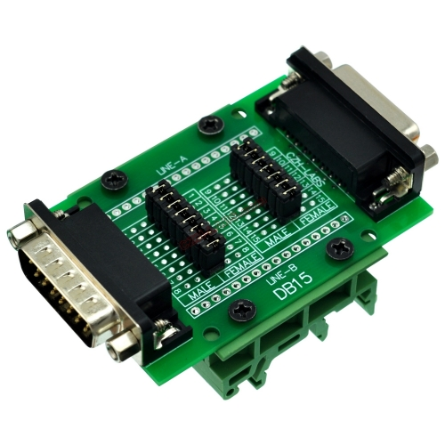 CZH-LABS DIN Rail Mount D'sub DB15 Diagnostic Test Breakout Board, DSUB DB15 Connector Male to Female.