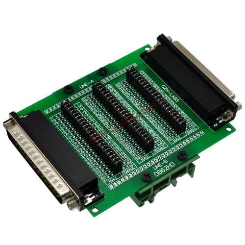 CZH-LABS DIN Rail Mount D'sub DB62HD Diagnostic Test Breakout Board, DSUB DB62HD Connector Male to Female.