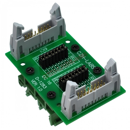 "CZH-LABS DIN Rail Mount IDC16 2x8Pin 0.1"" Pitch(2.54mm) Header Diagnostic Test Breakout Board."