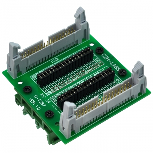 "CZH-LABS DIN Rail Mount IDC34 2x17Pin 0.1"" Pitch(2.54mm) Header Diagnostic Test Breakout Board."