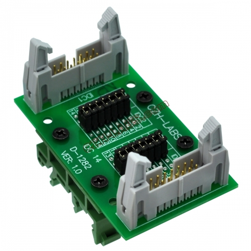 "CZH-LABS DIN Rail Mount IDC14 2x7Pin 0.1"" Pitch(2.54mm) Header Diagnostic Test Breakout Board."