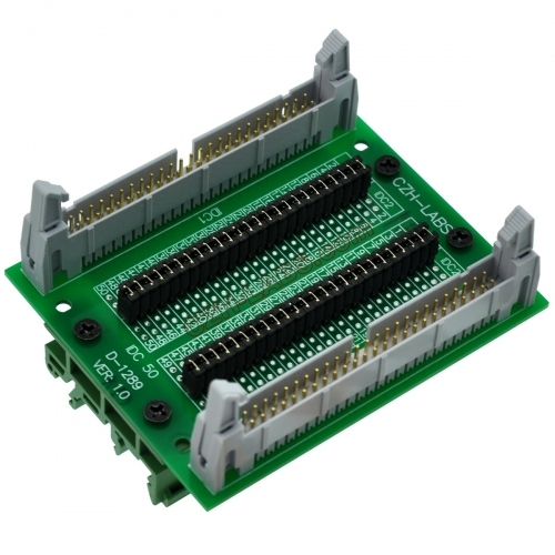 "CZH-LABS DIN Rail Mount IDC50 2x25Pin 0.1"" Pitch(2.54mm) Header Diagnostic Test Breakout Board."