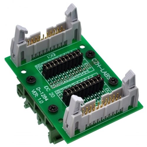 "CZH-LABS DIN Rail Mount IDC20 2x10Pin 0.1"" Pitch(2.54mm) Header Diagnostic Test Breakout Board."