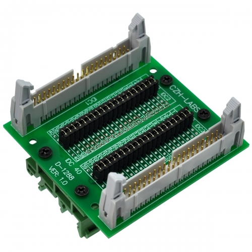 "CZH-LABS DIN Rail Mount IDC40 2x20Pin 0.1"" Pitch(2.54mm) Header Diagnostic Test Breakout Board."