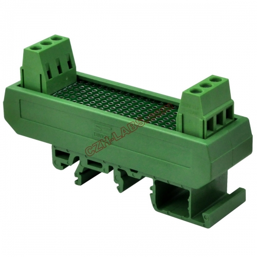 CZH-LABS DIN Rail Mounting Carrier Housing with Prototype Board, PCB Size 20.3mm x 73mm.