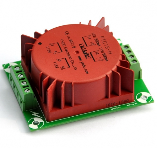AUDIOWIND In 115/230Vac Out 2x15Vac 15 Watts(VA) Encapsulated Toroidal Power Transformer.
