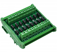 Electronics-Salon DIN Rail Mount Clamp Diode Array Module Board, 16 1N5408 3A 1000V.