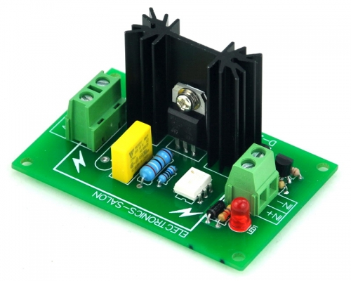 ELECTRONICS-SALON One Channel 6A SSR Module Board, in 4~32VDC, out 100~240VAC, Solid State Relay.