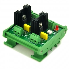 ELECTRONICS-SALON DIN Rail Mount 2 Channel 6 Amp SSR Module Board, in 4~32VDC, out 100~240VAC.