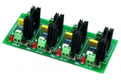 ELECTRONICS-SALON Four Channel 6A SSR Module Board, in 4~32VDC, out 100~240VAC, Solid State Relay.