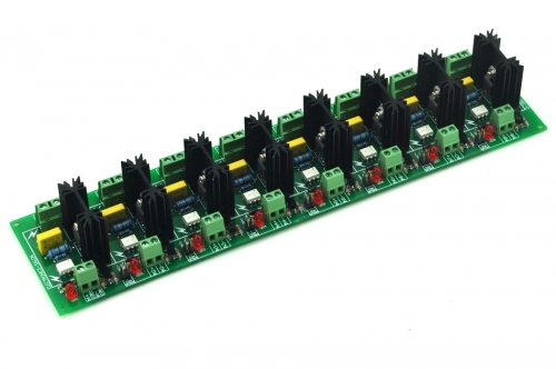 ELECTRONICS-SALON Eight Channel 6A SSR Module Board, in 4~32VDC, out 100~240VAC, Solid State Relay.
