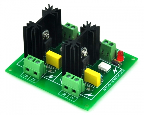 ELECTRONICS-SALON Two Channel 6A SSR Module Board, in 4~32VDC, out 100~240VAC, Solid State Relay.