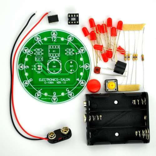 ELECTRONICS-SALON 12 Position LED Electronic Lucky Rotary Board Kit, Based on PIC12F508 MCU.